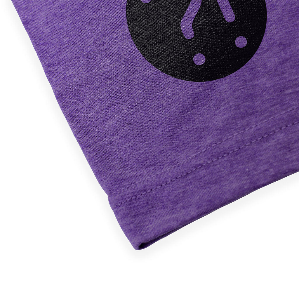 Bottom hem of Stick it Wear?! 'LA OPEN' Tennis Crew T-shirt in purple.