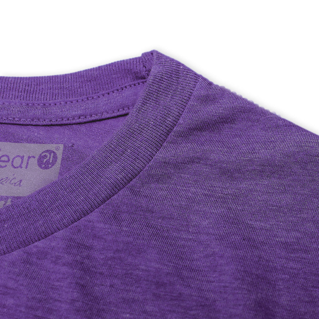 Collar of Stick it Wear?! 'LA OPEN' Tennis Crew T-shirt in purple.