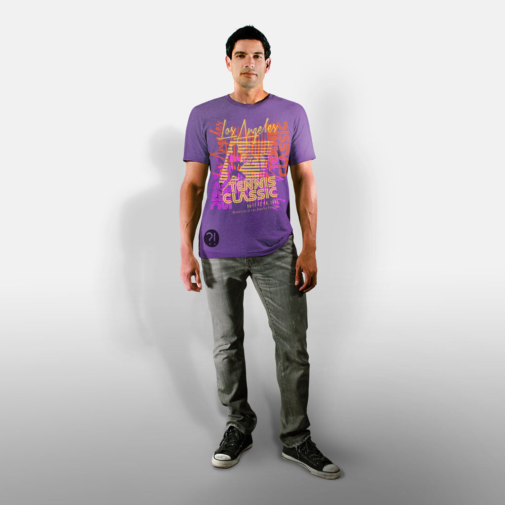 Model wearing Stick it Wear?! 'LA OPEN' Tennis Crew T-shirt in purple.
