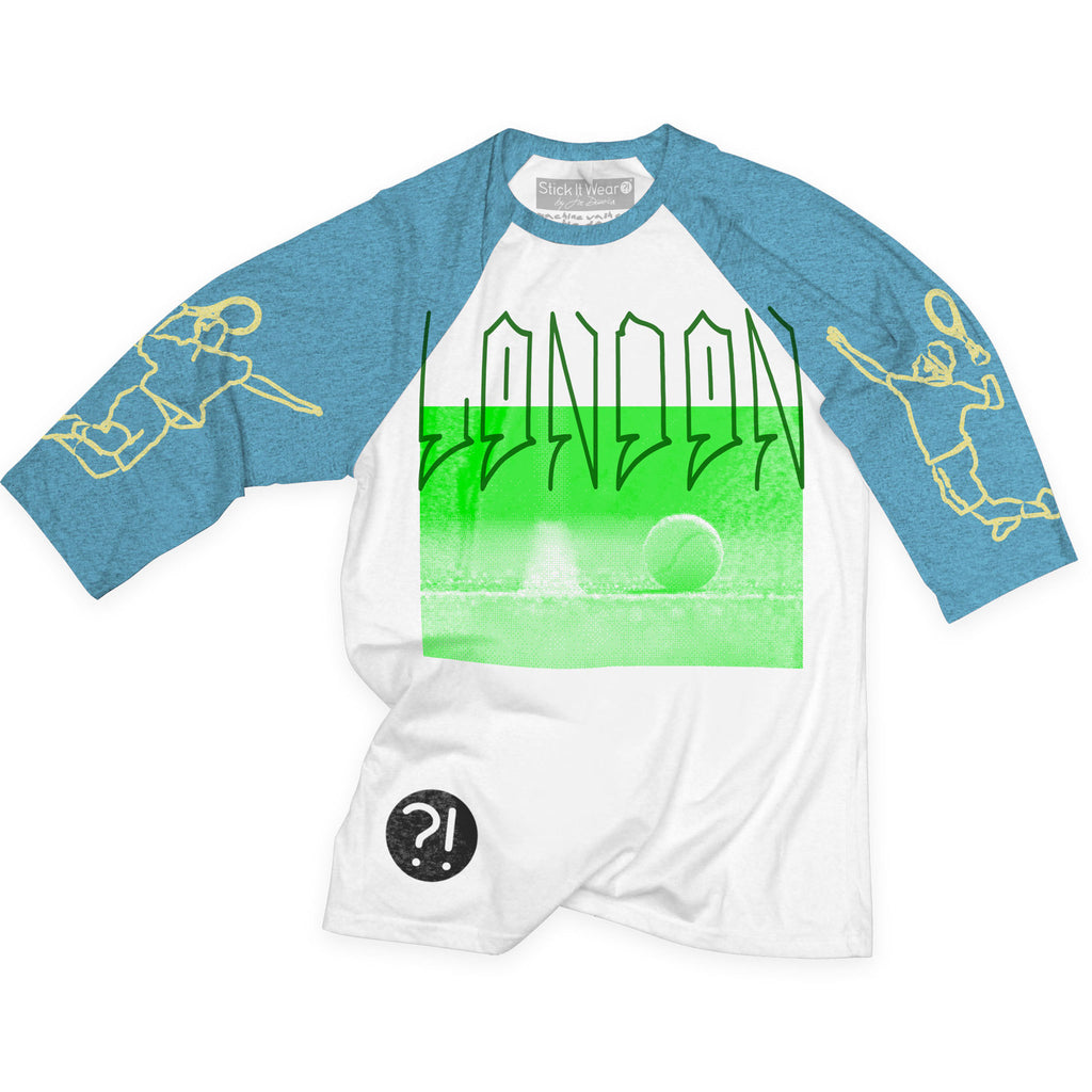 Front of Stick it Wear?! 'LONDON' tennis practice t-shirt in white with blue sleeves.