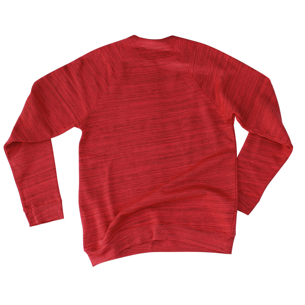 Back of Stick it Wear?! 'MARCHING ORDERS' Hockey sweatshirt in marble red.