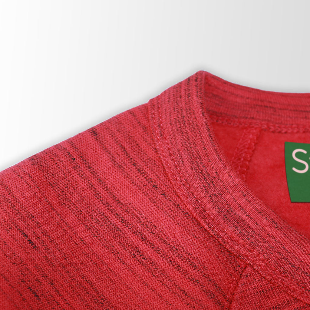 Collar of Stick it Wear?! 'MARCHING ORDERS' Hockey sweatshirt in marble red.