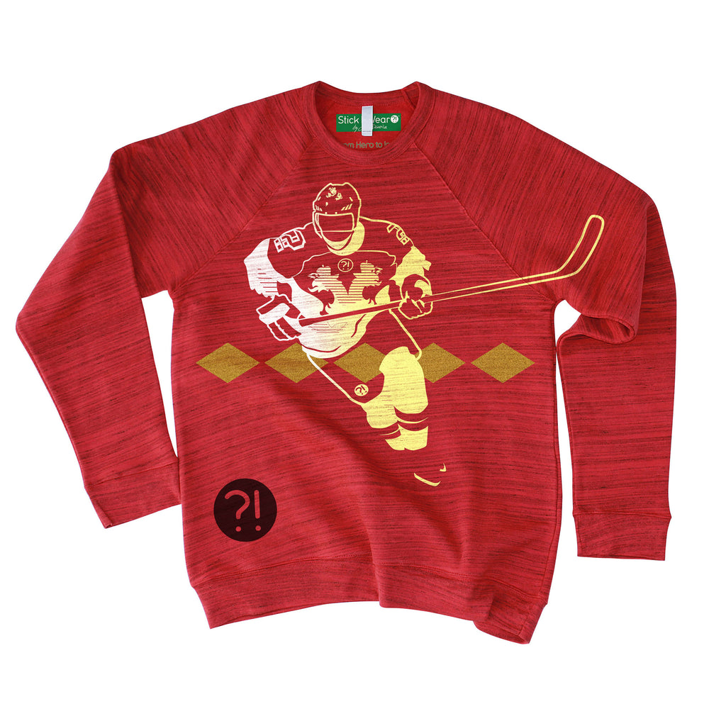 Front of Stick it Wear?! 'MARCHING ORDERS' Hockey sweatshirt in marble red.