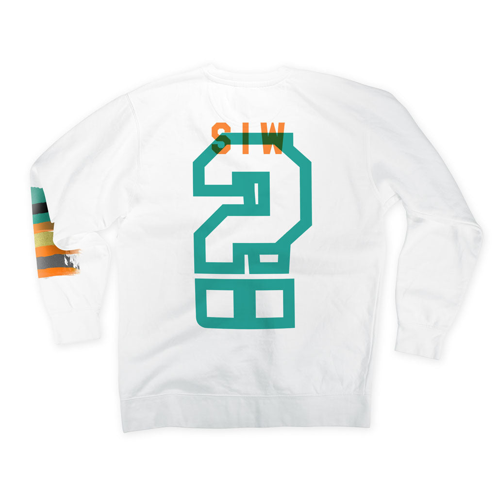 Back of Stick it Wear?! 'MARINE LAYER' Football Front Office sweatshirt in white.
