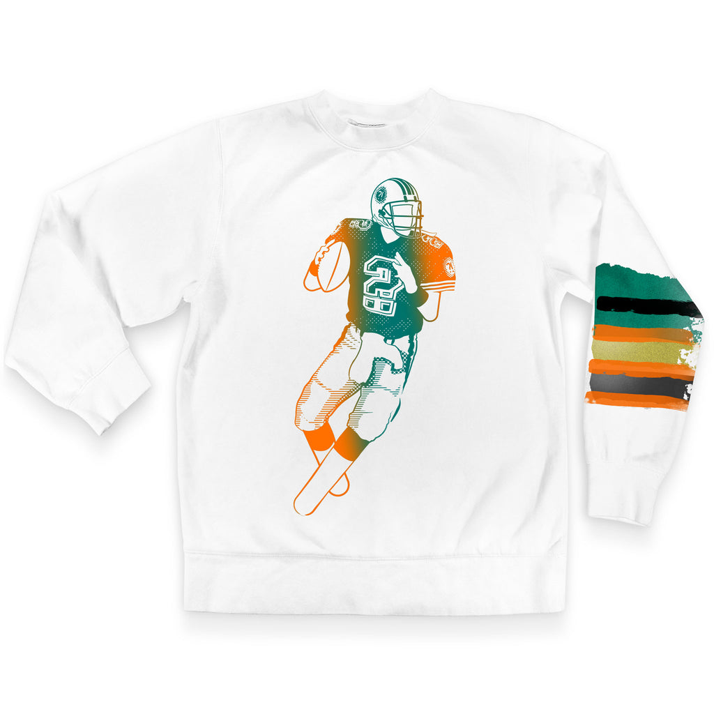 Front of Stick it Wear?! 'MARINE LAYER' Football Front Office sweatshirt in white.