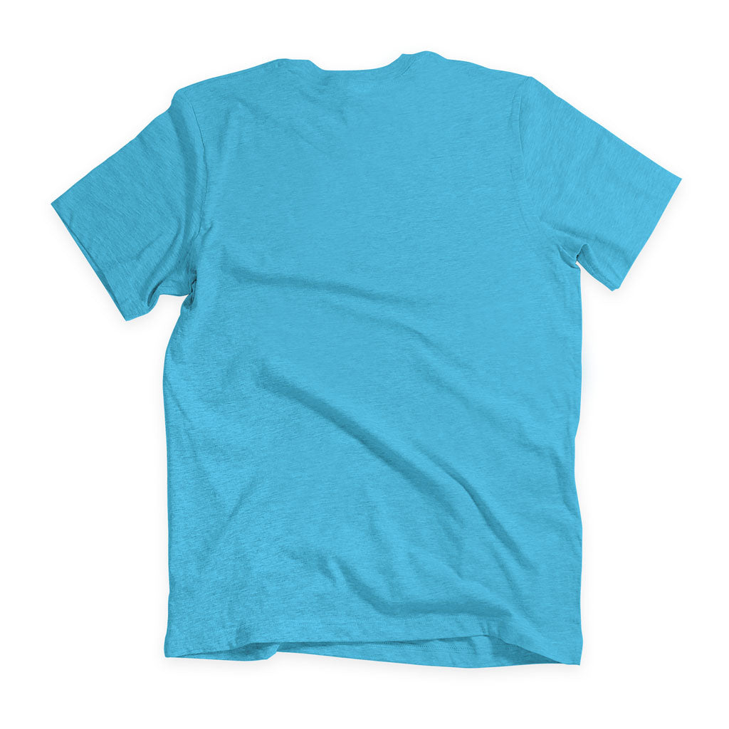 Back of Stick It Wear?! 'MCITI' Soccer V-Neck t-shirt in light blue.