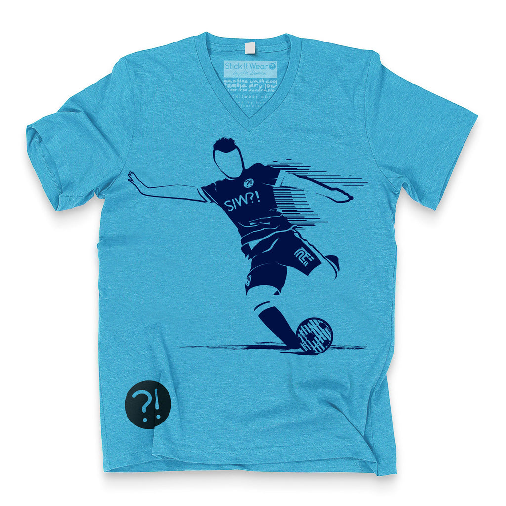 Front of Stick It Wear?! 'MCITI' Soccer V-Neck t-shirt in light blue.
