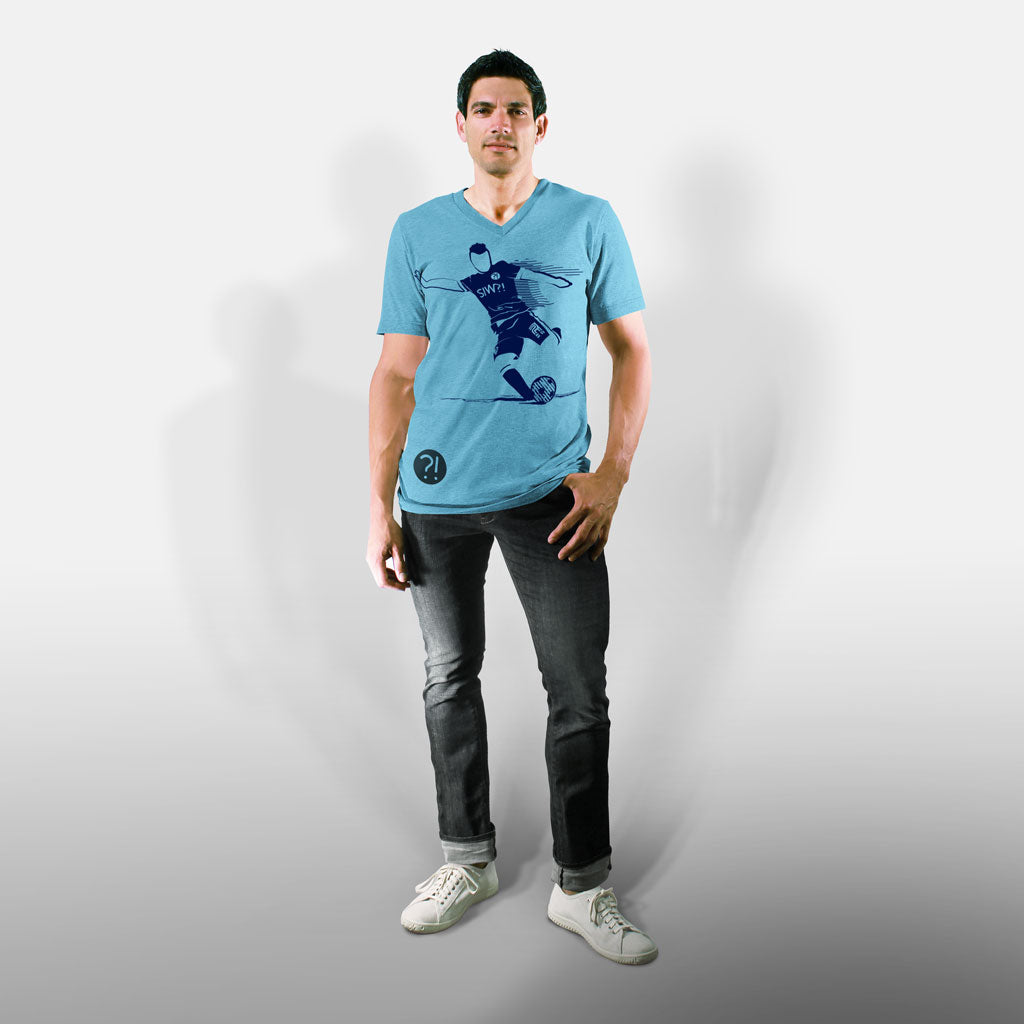 Model wearing Stick It Wear?! 'MCITI' Soccer V-Neck t-shirt in light blue.