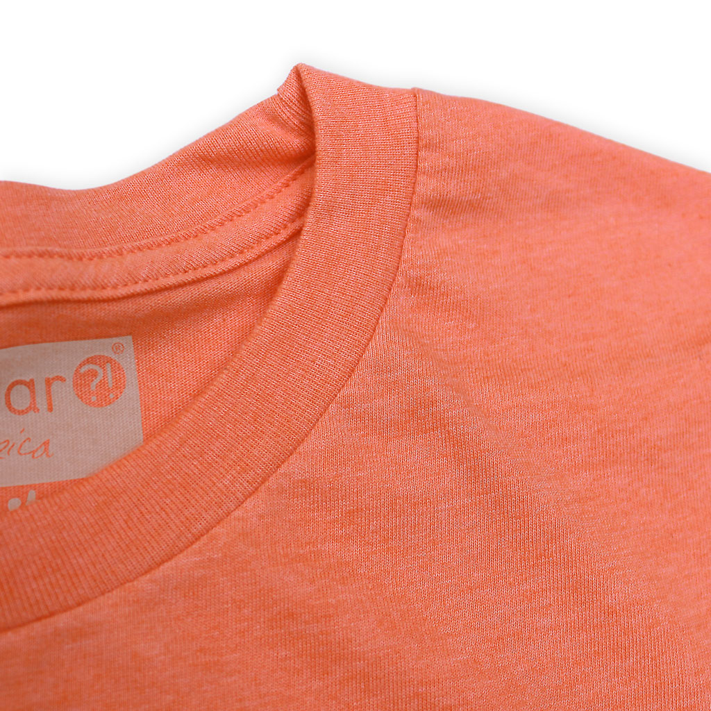 Collar of Stick It Wear?! 'MONF DIVER' First Serve Tennis Tee in orange.
