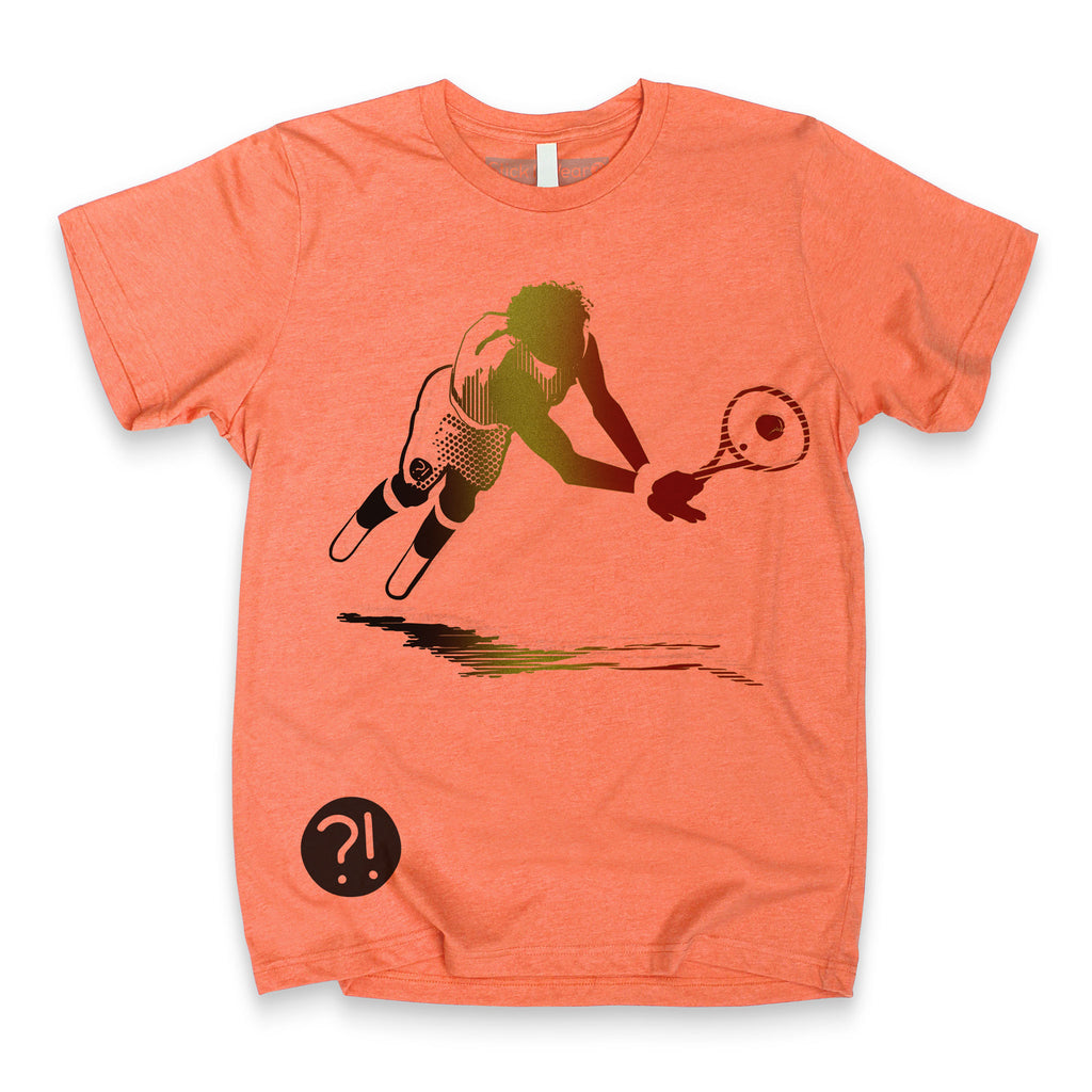 Front of Stick It Wear?! 'MONF DIVER' First Serve Tennis Tee in orange.