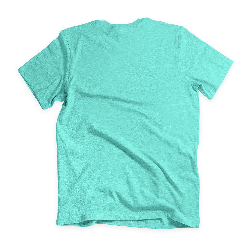 Back of Stick it Wear?! 'MONTE CARLO INVITE' Tennis Crew T-shirt in teal.