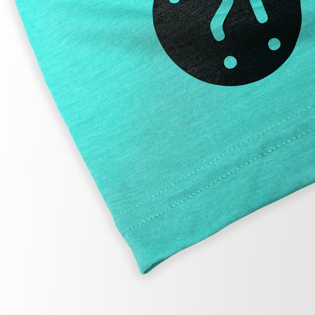 Bottom hem of Stick it Wear?! 'MONTE CARLO INVITE' Tennis Crew T-shirt in teal.