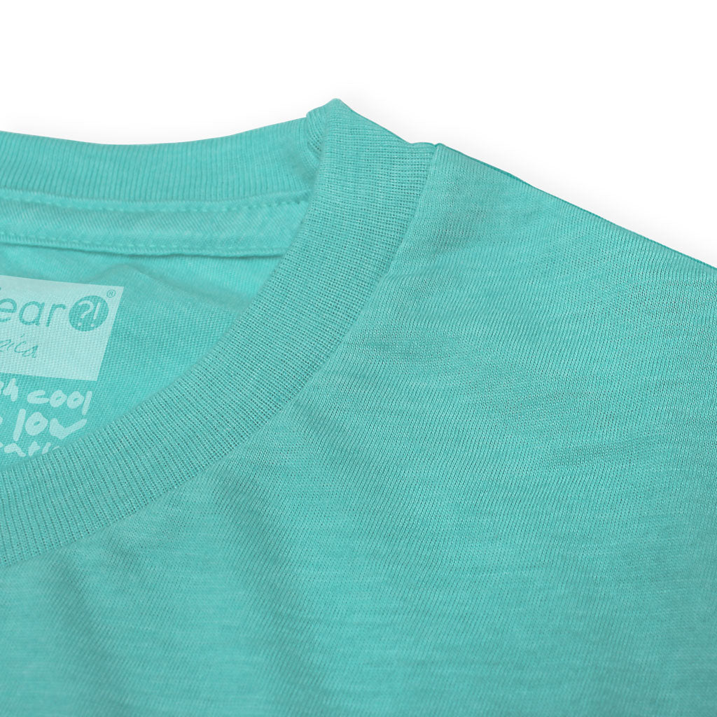 Collar of Stick it Wear?! 'MONTE CARLO INVITE' Tennis Crew T-shirt in teal.