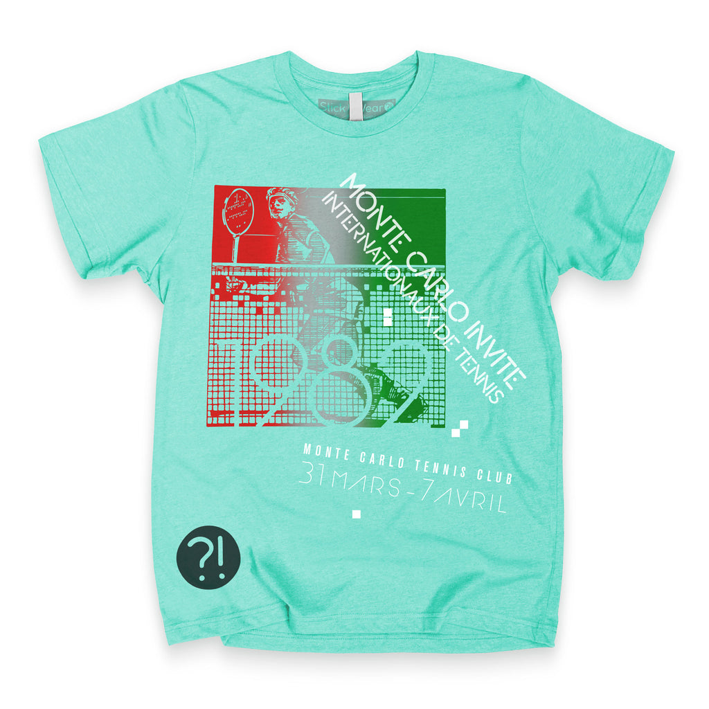 Front of Stick it Wear?! 'MONTE CARLO INVITE' Tennis Crew T-shirt in teal.