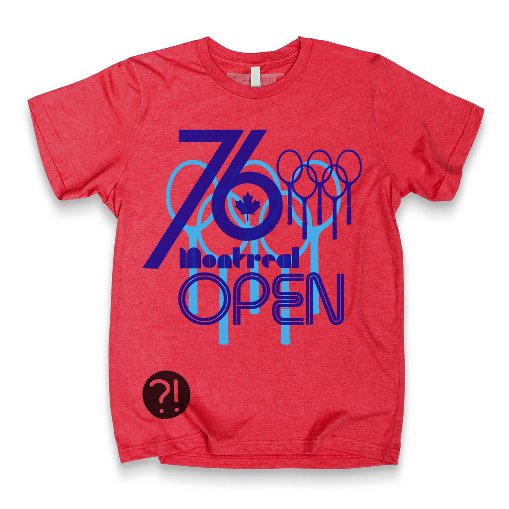 Front of Stick it Wear?! 'MONTREAL OPEN' Tennis Crew T-shirt in red.
