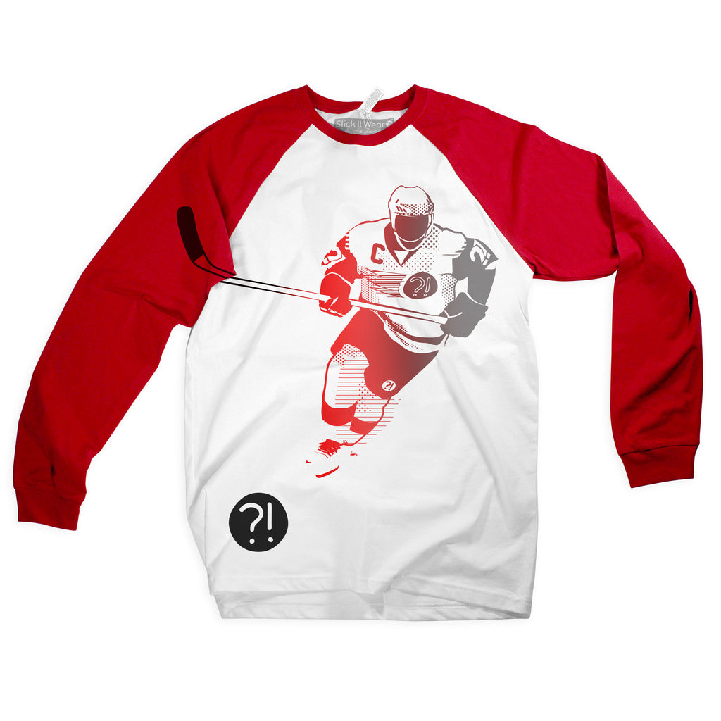Front of Stick It Wear?! 'GEARHEAD' Starting-line long shirt in white with red sleeves.