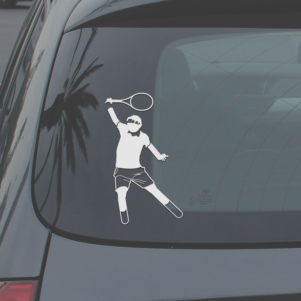 Back windshield displaying Stick It Wear?! vinyl decal of a tennis player hitting a backhand.
