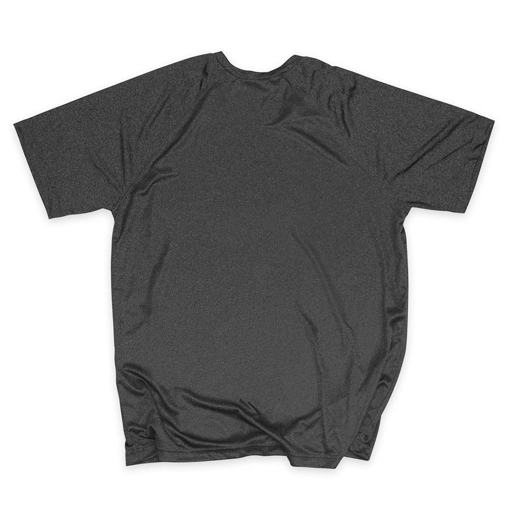 Back of Stick It Wear?! 'NEO' Mens Tennis Performance shirt in gray.
