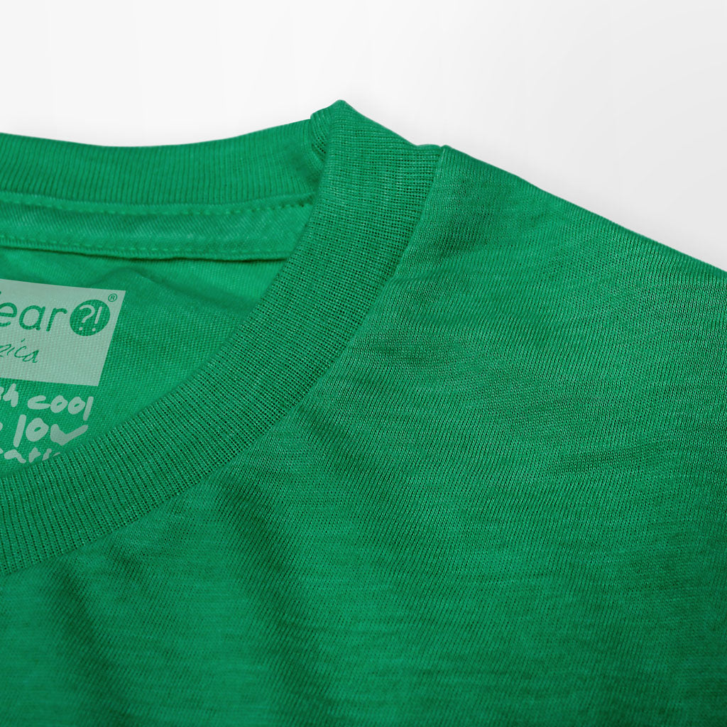 Collar of Stick it Wear?! 'NEST' basketball shoot-around t-shirt in green.