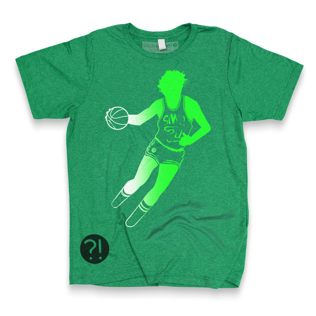 Front of Stick it Wear?! 'NEST' basketball shoot-around t-shirt in green.
