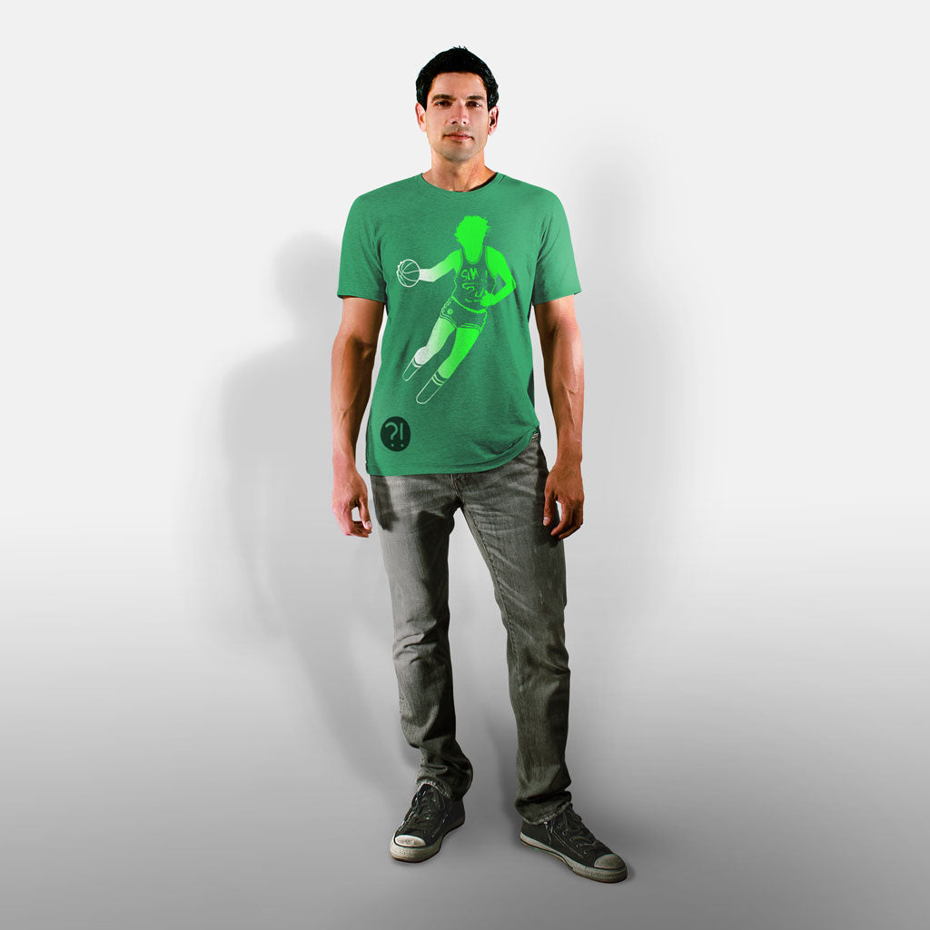 Model wearing Stick it Wear?! 'NEST' basketball shoot-around t-shirt in green.