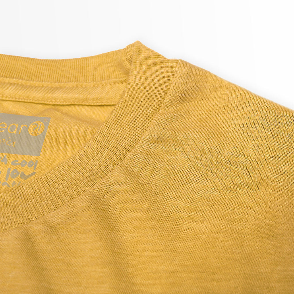 Collar of Stick It Wear?! 'NICKERFLICKER' Mens Tennis Tshirt in yellow.