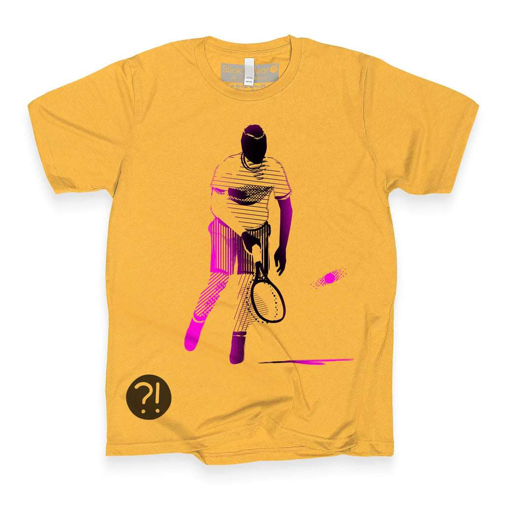 Front of Stick It Wear?! 'NICKERFLICKER' Mens Tennis Tshirt in yellow.