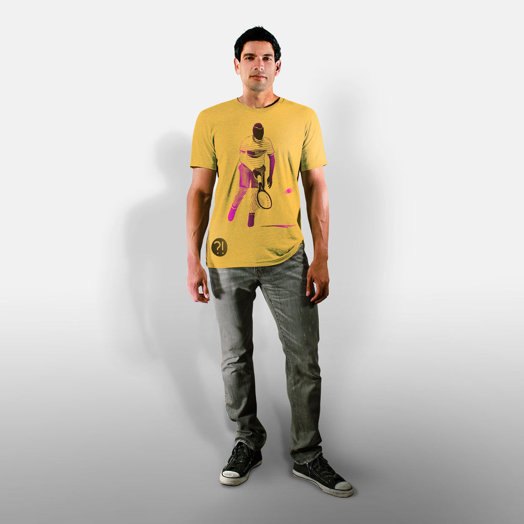 Model wearing Stick It Wear?! 'NICKERFLICKER' Mens Tennis Tshirt in yellow.