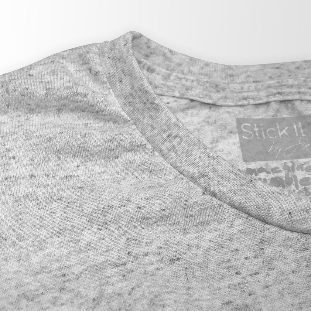 Collar of Stick it Wear?! 'NYC 96' Hardcourt Graphic Tennis Tee in heather gray.