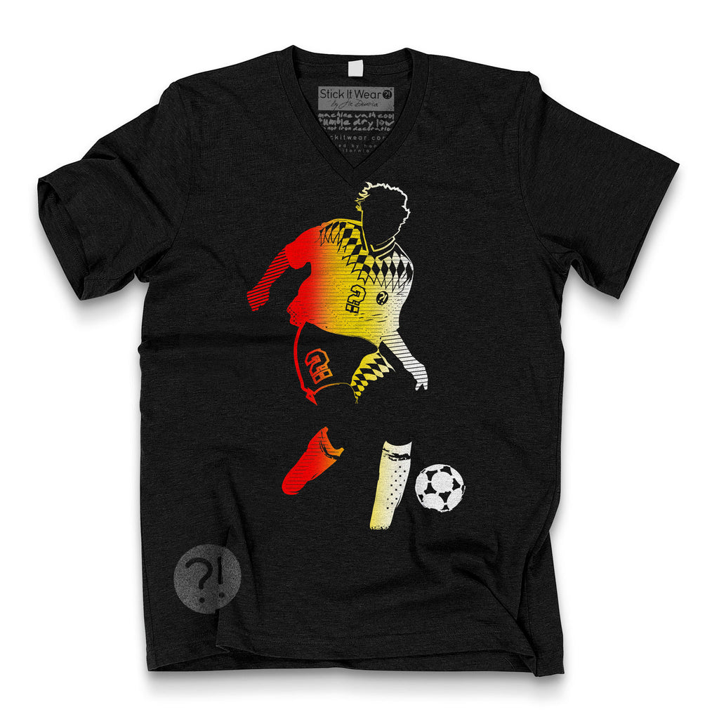 Front of Stick it Wear?! 'OK-MANN' Soccer V-Neck Tee in black.