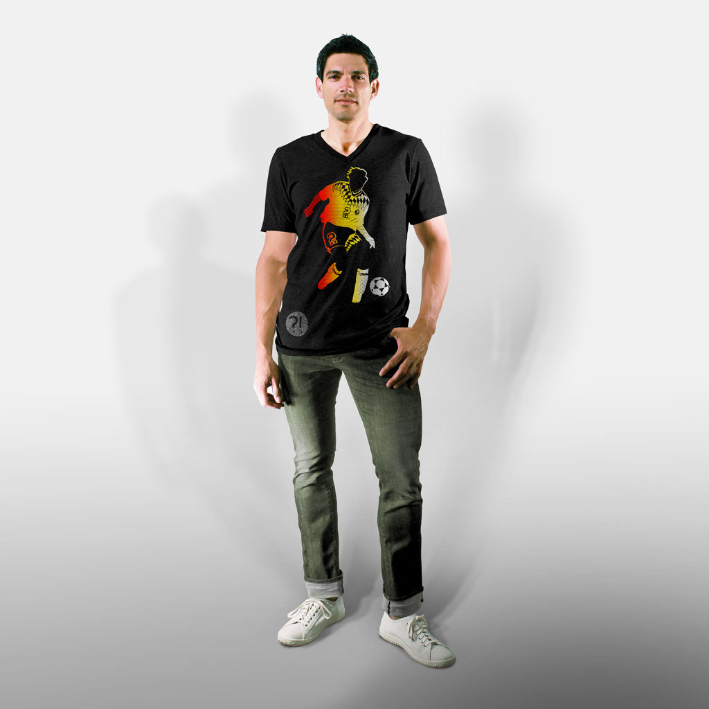 Model wearing Stick it Wear?! 'OK-MANN' Soccer V-Neck Tee in black.