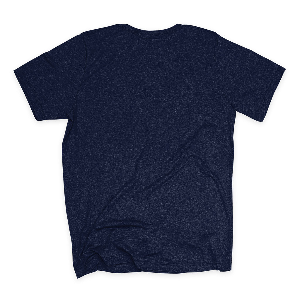 Back of Stick It Wear?! 'ONCE THY KING' First Serve Tennis Tee in navy.