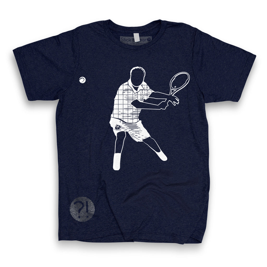 Front of Stick It Wear?! 'ONCE THY KING' First Serve Tennis Tee in navy.