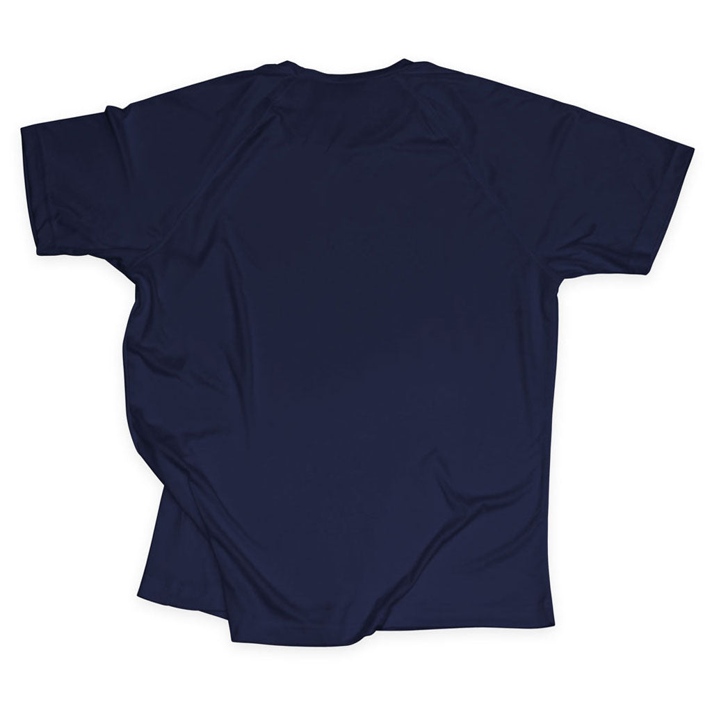 Back of Stick It Wear?! 'ONCE THY KING' Tennis Performance Shirt in navy.