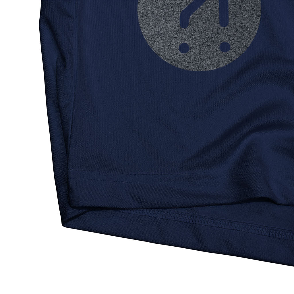 Bottom hem of Stick It Wear?! 'ONCE THY KING' Tennis Performance Shirt in navy.