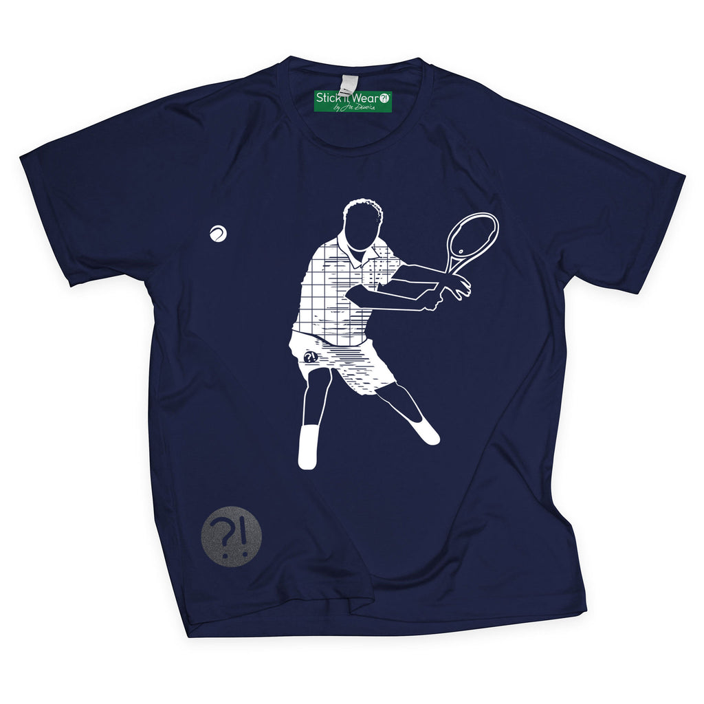 Front of Stick It Wear?! 'ONCE THY KING' Tennis Performance Shirt in navy.