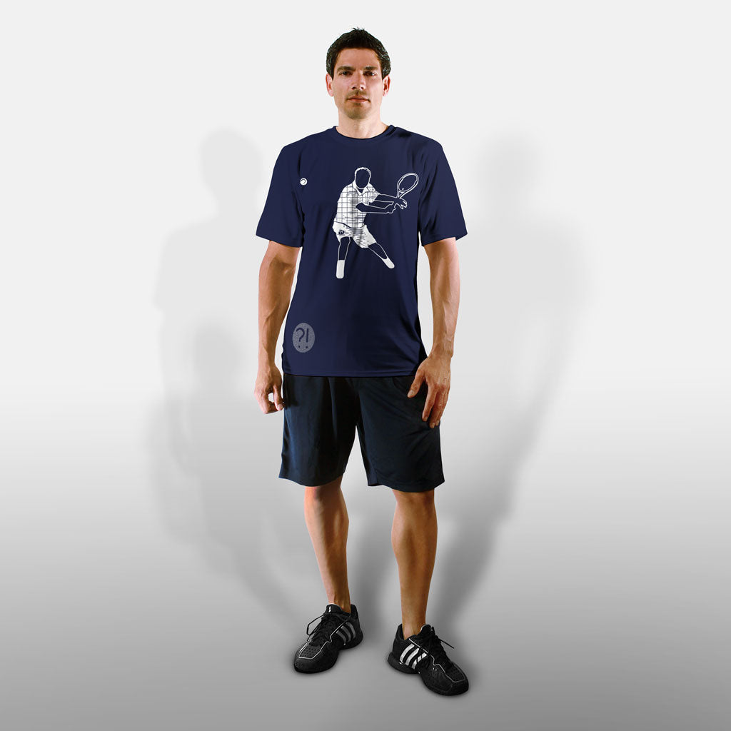 Model wearing Stick It Wear?! 'ONCE THY KING' Tennis Performance Shirt in navy.