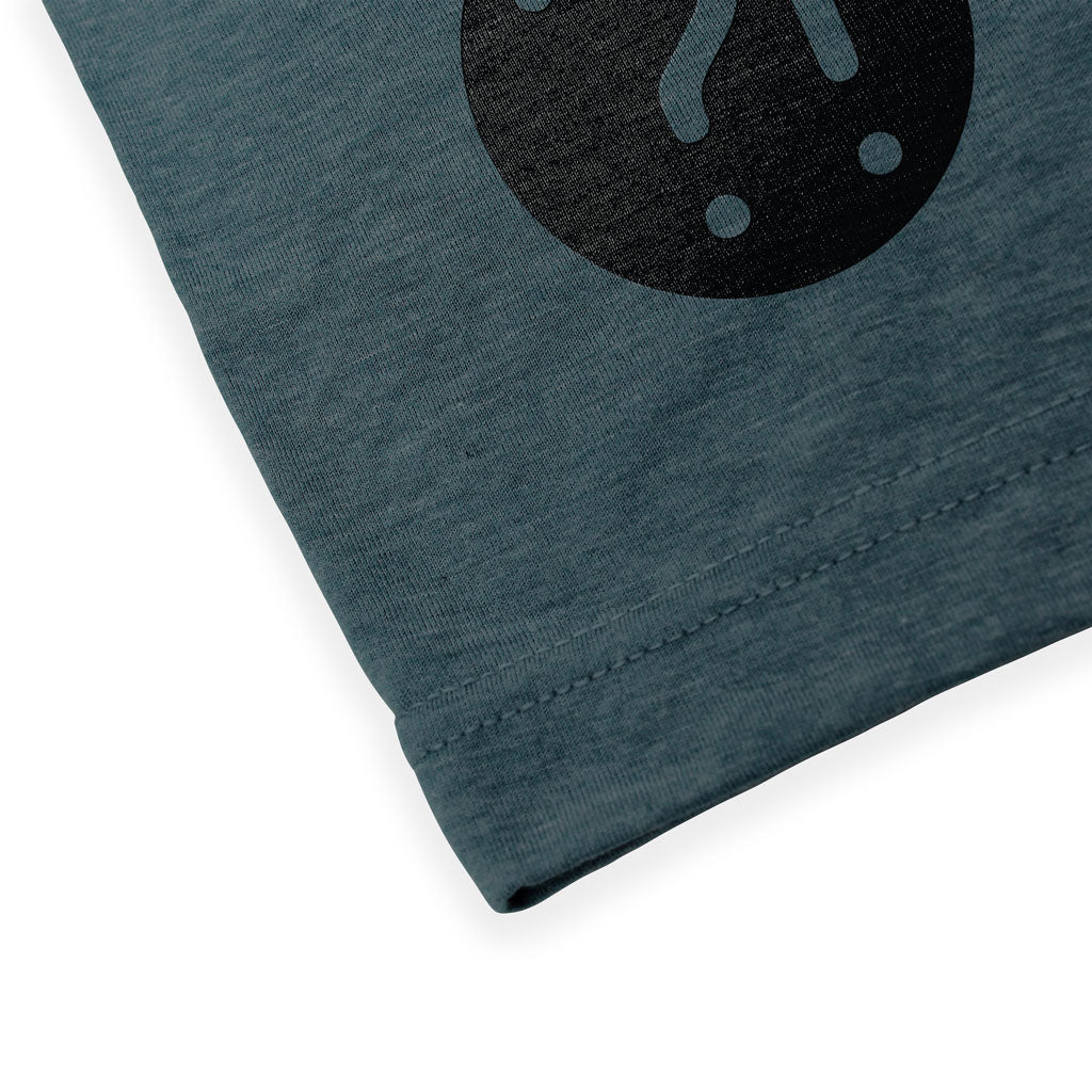 Bottom seam of Stick It Wear?! 'ONE FOR THE TEAM' Mens Tennis Tshirt in denim.
