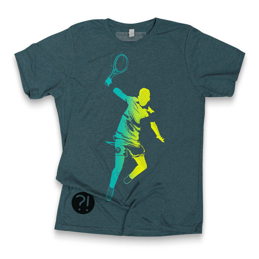 Front of Stick It Wear?! 'ONE FOR THE TEAM' Mens Tennis Tshirt in denim.