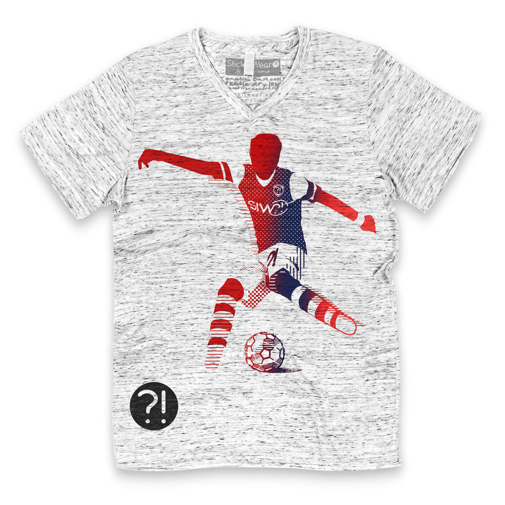 Front of Stick It Wear?! 'O GUNNER' Soccer V-Neck t-shirt in white.
