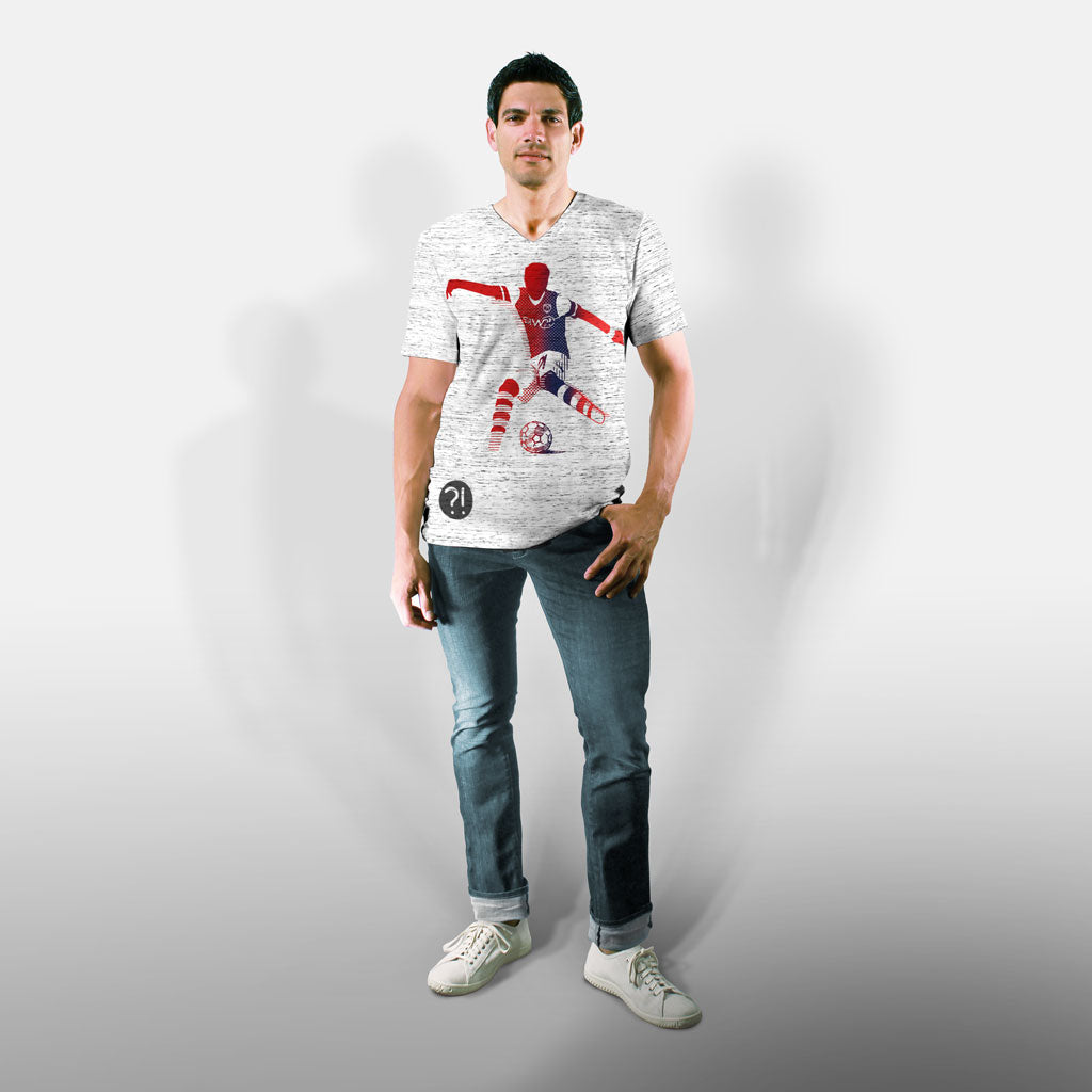 Model wearing Stick It Wear?! 'O GUNNER' Soccer V-Neck t-shirt in white.