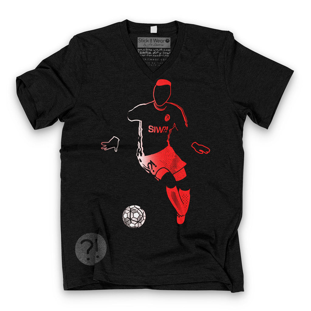 Front of Stick it Wear?! 'PAPAUL VISIT' Soccer V-Neck Tee in black.