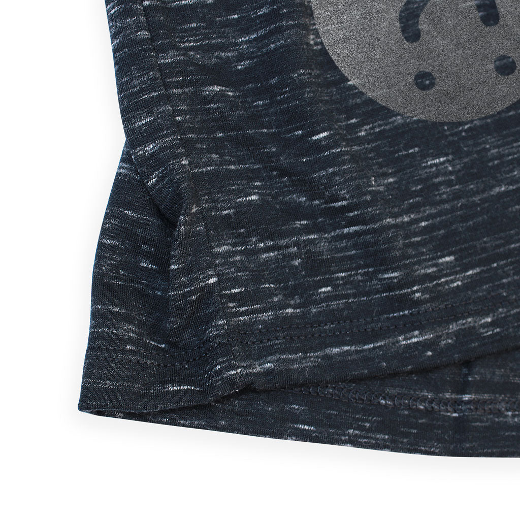 Bottom hem of Stick it Wear?! 'PARKING HITS' baseball practice t-shirt in dark gray with black sleeves.