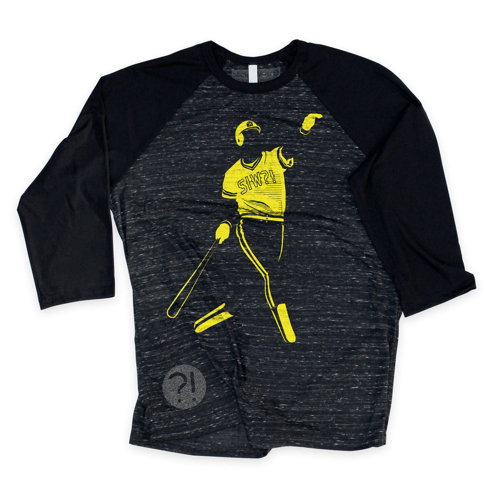 Front of Stick it Wear?! 'PARKING HITS' baseball practice t-shirt in dark gray with black sleeves.
