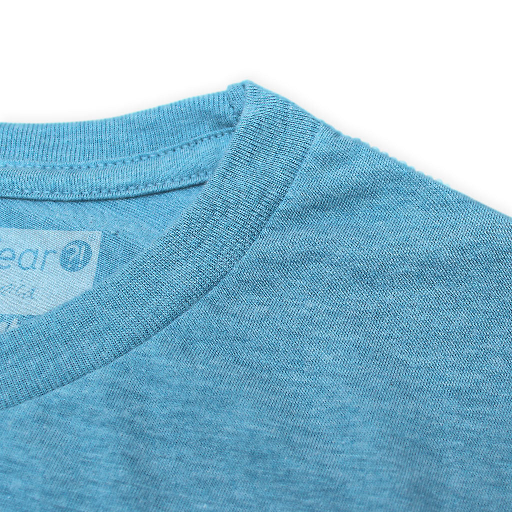 Collar of Stick it Wear?! 'PICARD'S FOE' Grasscourt Tennis Graphic Tee in blue.