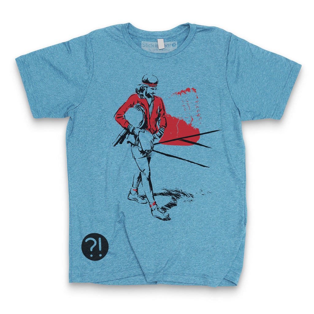 Front of Stick it Wear?! 'PICARD'S FOE' Grasscourt Tennis Graphic Tee in blue.