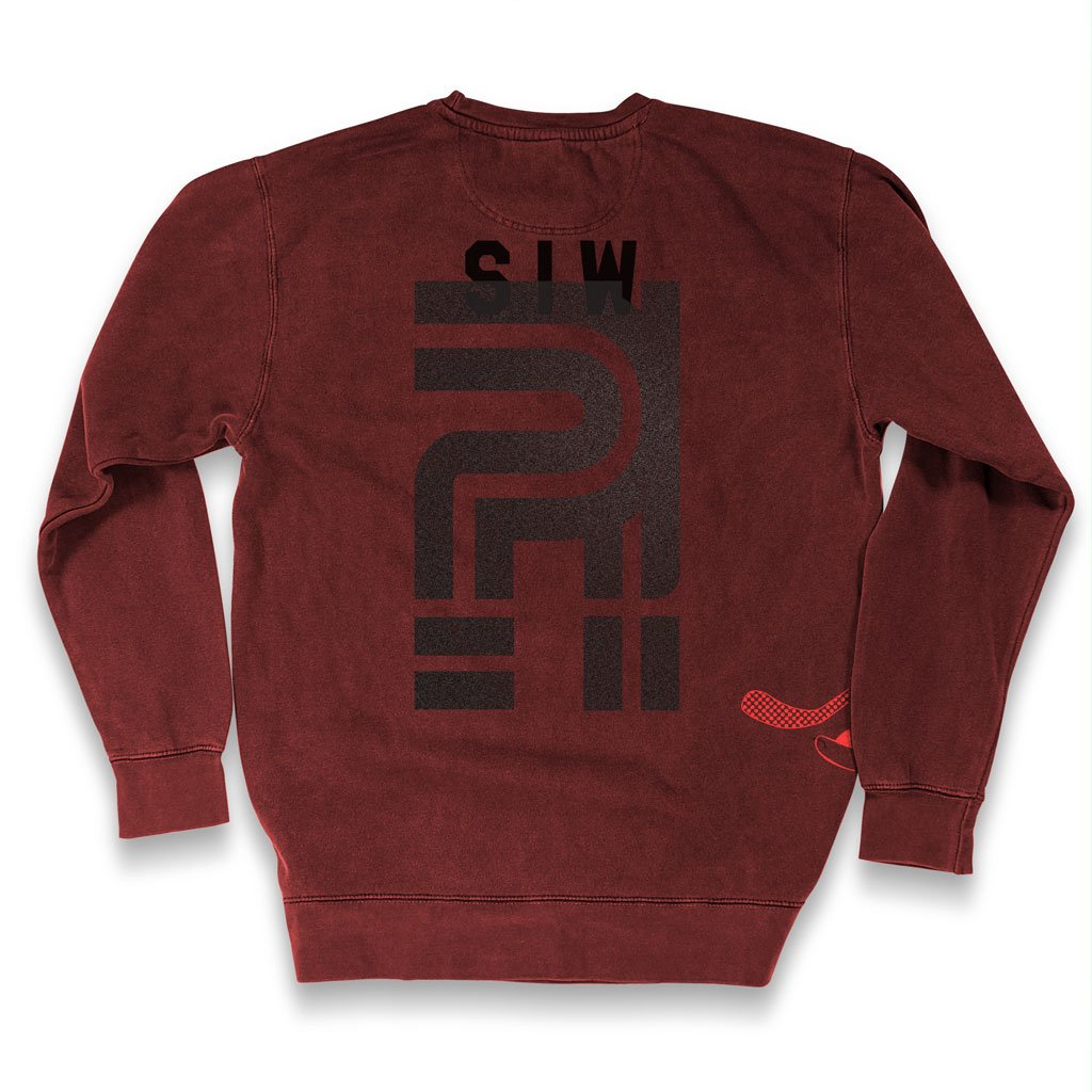 Back of Stick it Wear?! 'POLITICAL' Hockey Front Office sweatshirt in cardinal.