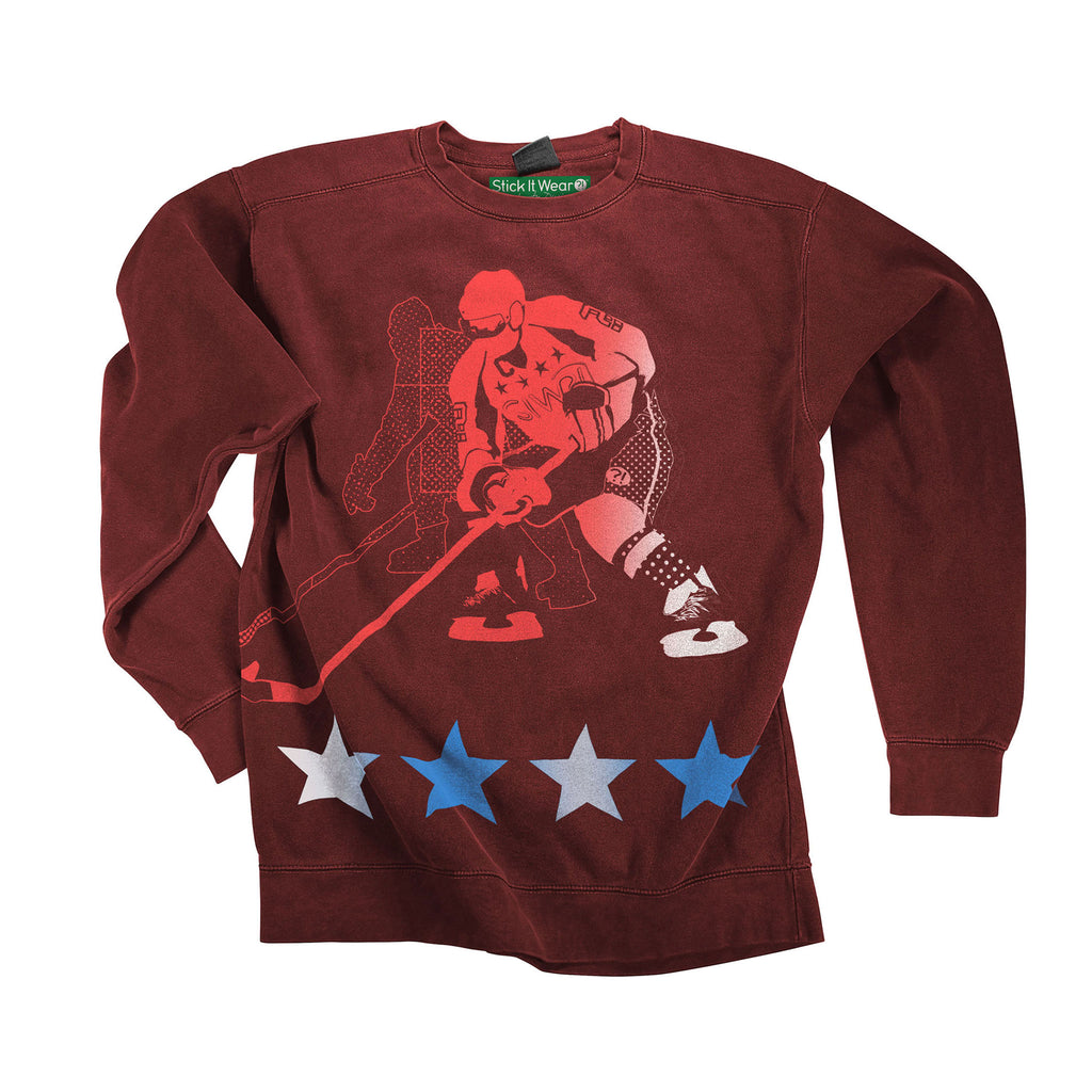 Front of Stick it Wear?! 'POLITICAL' Hockey Front Office sweatshirt in cardinal.