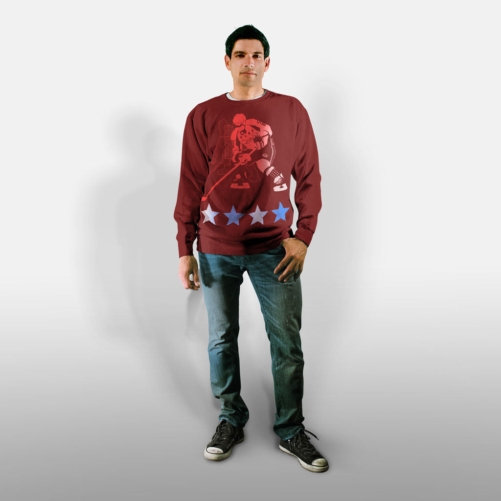 Model wearing Stick it Wear?! 'POLITICAL' Hockey Front Office sweatshirt in cardinal.