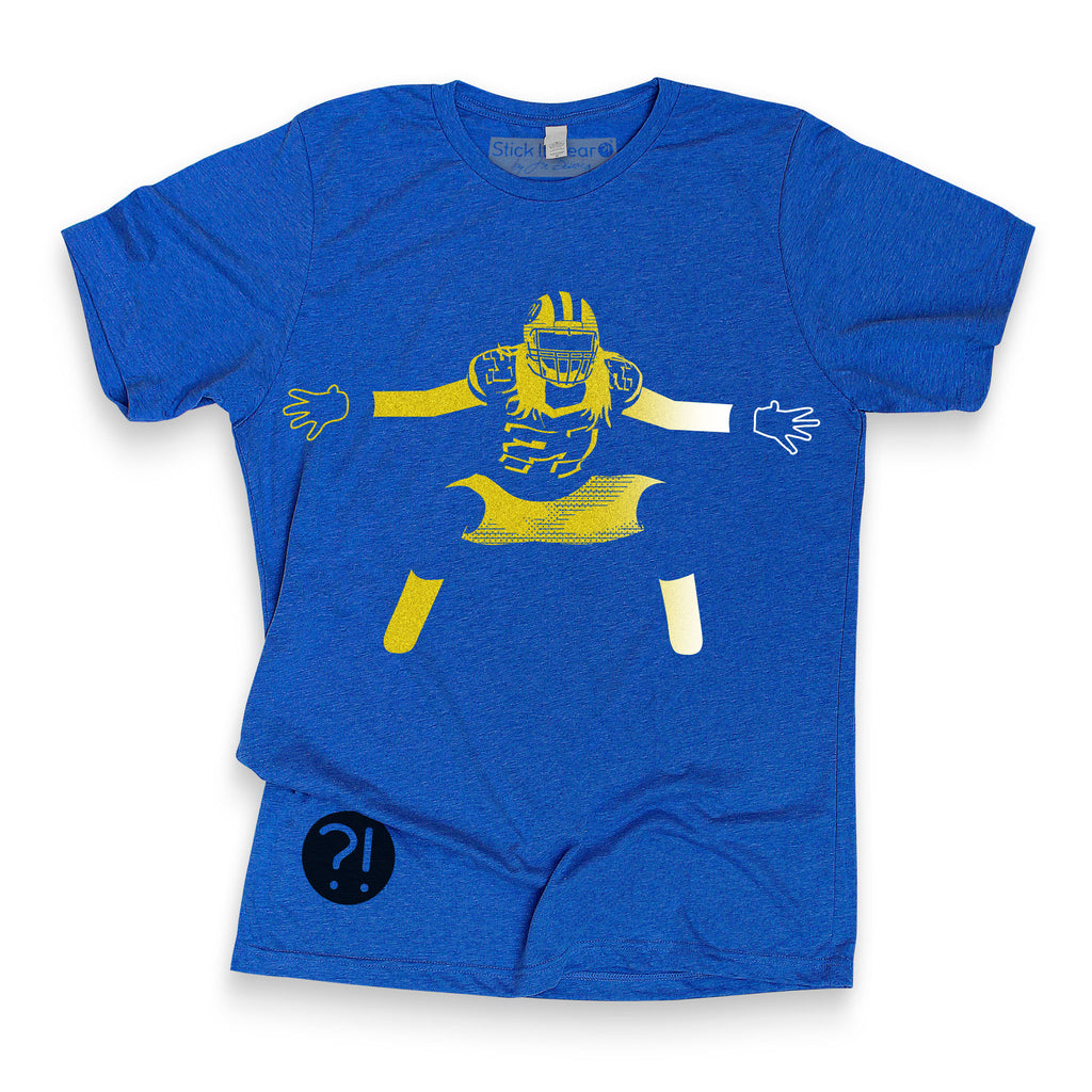 Front of Stick it Wear?! 'POTTERY' football crew t-shirt in blue.